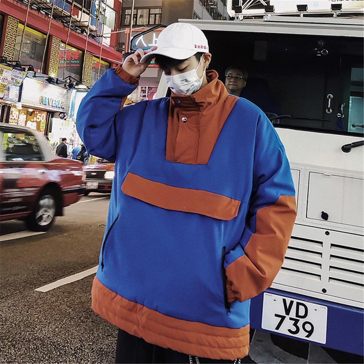 Rembourré Pull De Spliced Vêtements Mode Hiver xl blue M Black Lâche Manteau Chaud Revers Coréen Outwear grey Parkas Coton Casual 2018 Couleur Hommes Hit qz7xvOtz