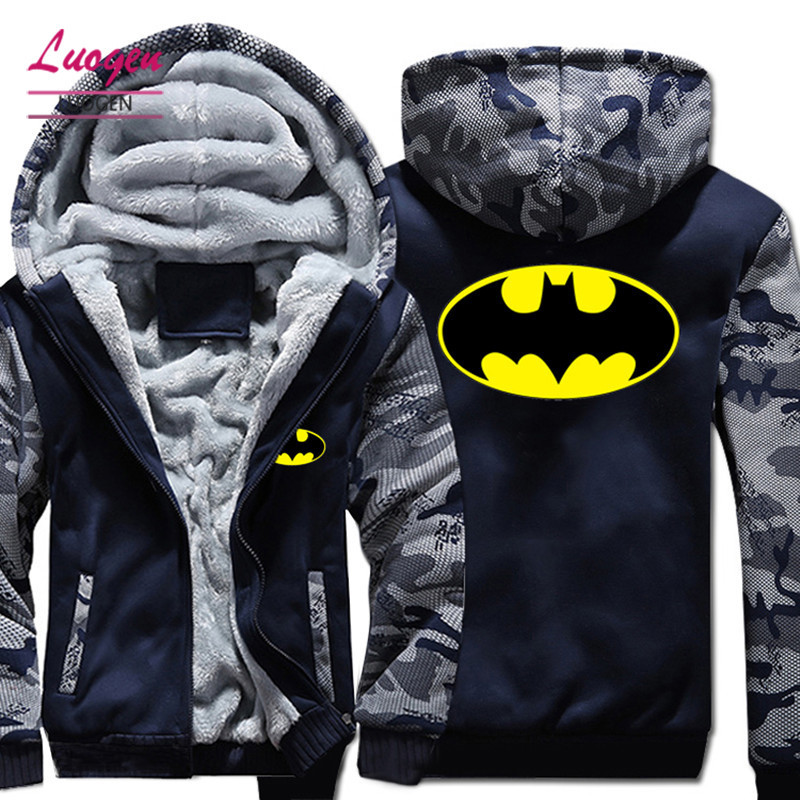 USA SizeSuperhero Batman Hoodie in Men's Hoodeis Sweatshirts Winter Fleece Thicken Zipper Hoody Unisex Coats Free shipping