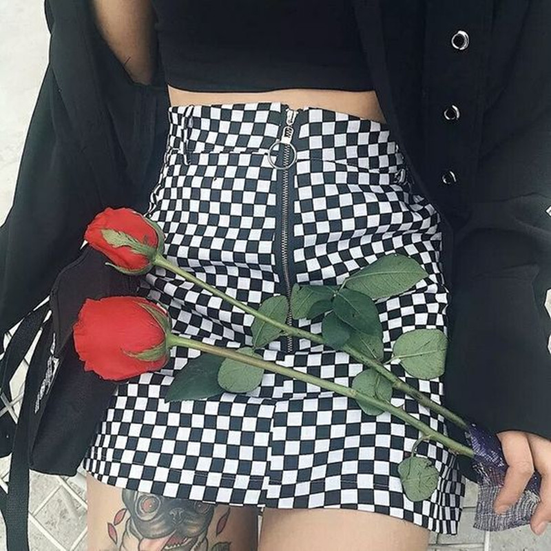 Wipalo Checkerboard High Waist Skirt 2019 Summer Sexy Mini Skirt Zipper Unif Checkered Skirts Womens Short Bottom Saia Gothic