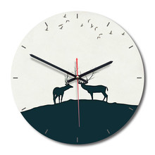 New 3D Wall Clock Nordic Quartz 28cm Elk For Living Room Silent Movement Watch Modern Design Accept Dropshipping