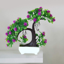 Artificial Flowers Fake Green Tree Pot Welcoming Pine Bonsai Simulation Potted Plant Ornament Home Decor