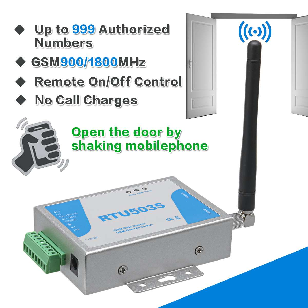 RTU5024 RTU5035 2G 3G GSM Gate Opener Relay Switch Call Remote Controller Phone Shaking Control Door Opener For Parking Systems
