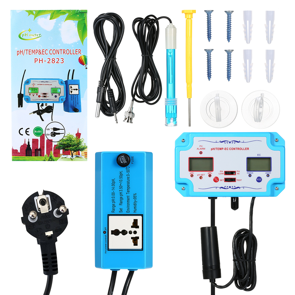 Water Quality Detector pH Controller with Relay Plug Repleaceable Electrode Type Probe Water Quality Tester for