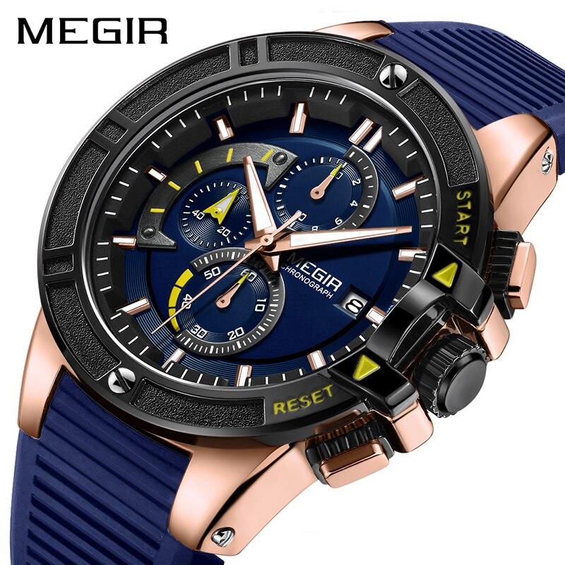 MEGIR Watch Men Relogio Masculino Silicone Chronograph Quartz Men Watches Luxury Brand Clock Hour Relogio Militar Reloj Hombre