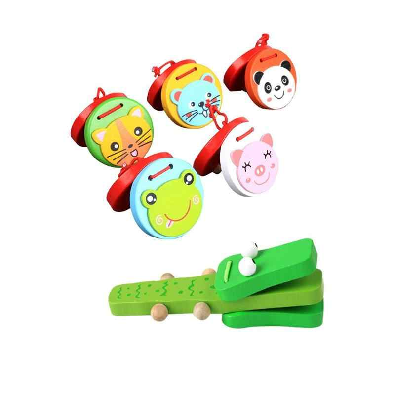 Cute Cartoon Wooden Castanet Clapper Handle Kids Musical Instrument Toys For Children Montessori Educational Development Gift