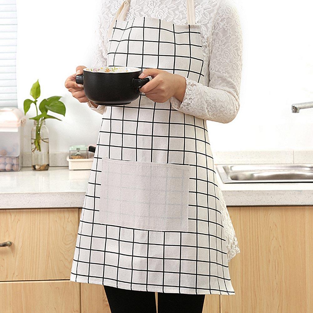 1 Pc Eenvoudige Zwart En Wit Raster Patroon Universele Katoen Blend Wasbaar Keuken Chef Koken Craft Ober Pocket Schort Jurk Zeer EfficiëNt Bij Het Behouden Van Warmte