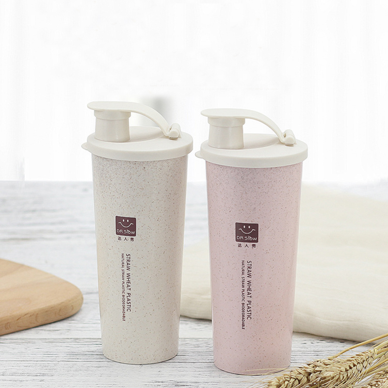 450ml Protein Powder Shaker Water Bottle Wheat Straw BPA Eco-Friendly Mixer Sports Fitness Milk Shake Bottle Drinking Use Tools image