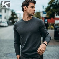 Осенний мужской свитер, белый, розовый, серый цвет, однотонные пуловеры для мужчин, модная облегающая одежда 2018, Мужская трикотажная одежда, ...