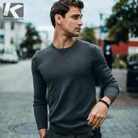 KUEGOU 2019 Autumn Solid Black Color Sweater Men Pullover Casual Jumper For Male Brand Knitted Korean Style Clothes 98001