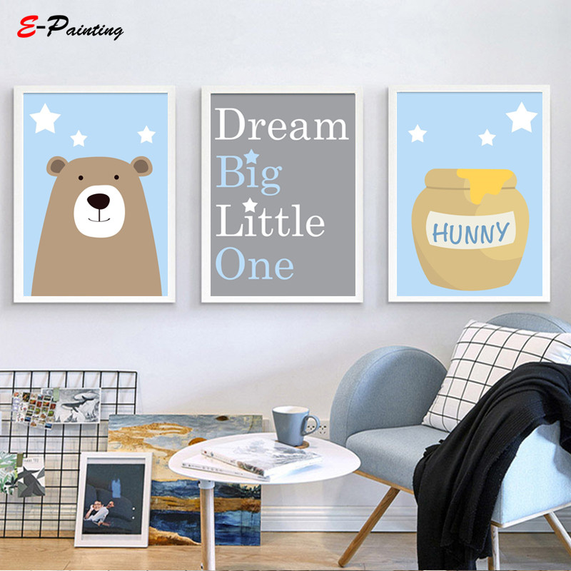 Us 3 5 30 Off Nordic Canvas Painting Baby Boy Nursery Wall Art Bear Honey Dream Little One Quote Blue And Gray Kid Bedroom Decor In