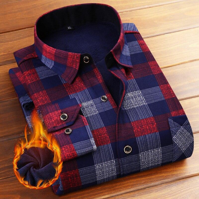 2018 men shirts Slim Fit Men Winter Long Sleeve Dress Shirt Warm Casual Vintage Corduroy Mens Formal Shirt Camisa Masculina