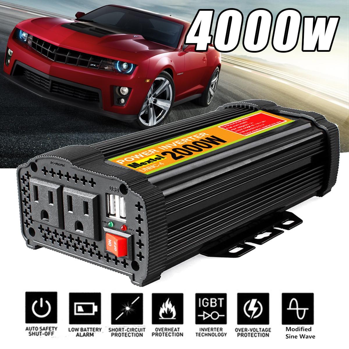 Onduleur 12 V 110 V 4000 W pics onde sinusoïdale modifiée automatique 2000 W transformateur de tension convertisseur de puissance voiture Charge USB