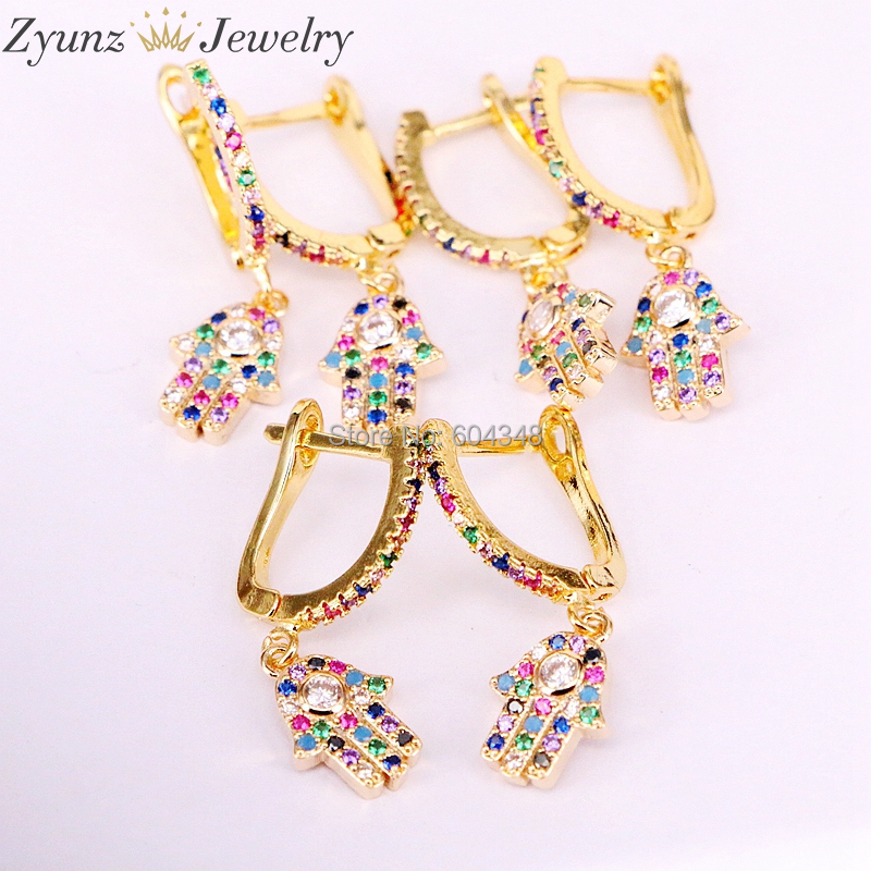 10Pairs ZYZ339 1247 gold color rainbow jewelry dangle earring multi color cz hamsa hand women trendy