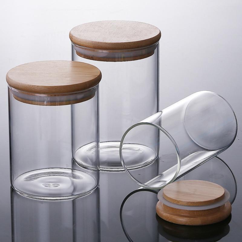 Birthday Candle Making DIY Jars Borosilicate Glass Seal Pot Canister Tea Pot Snacks Bottle Candy Storage Candle Jar Photophore