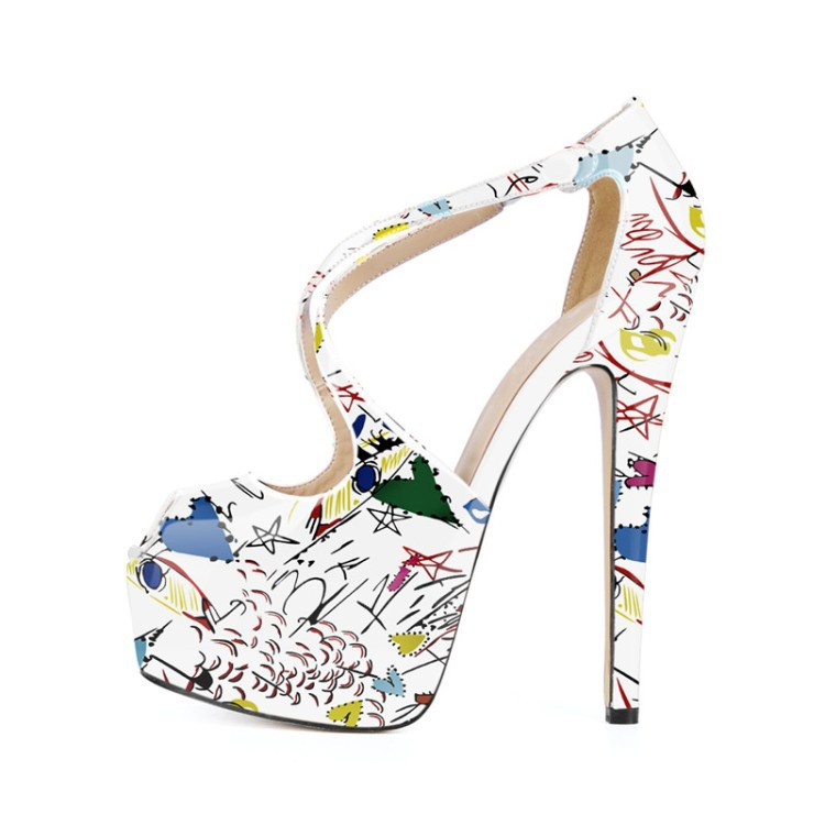 2019 New Graffiti Pattern Spring Women Shoes in Peep toe Platform Ladies Party Sandals with High Heel Sexy Cross tied Band2019 New Graffiti Pattern Spring Women Shoes in Peep toe Platform Ladies Party Sandals with High Heel Sexy Cross tied Band