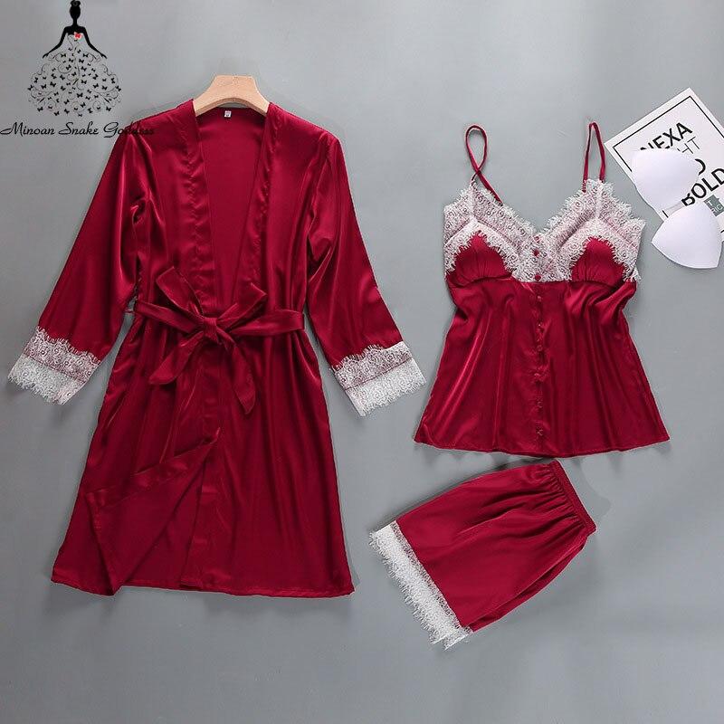 Pajama Sets Women's Sleep Lounge Sexy Lingerie Silk Satin Pyjama Sets Pijama Femme Sleepwear Nightwear Lingerie Set Nightie