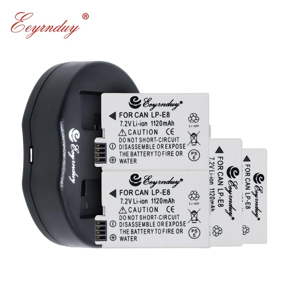 Batterie de LP-E8 (4 paquets) + USB double chargeur LC-E8 pour Canon EOS rebelle 700D 650D T2i T3i T4i T5i caméras