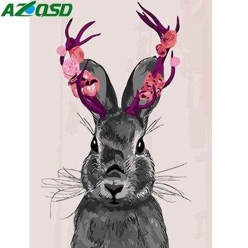 Azqsd DIY картина маслом по номерам милый кролик Ручная роспись холст Современная Настенная картина украшения дома картина на стену с животным... >> AZQSD Official Store