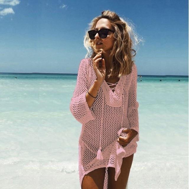 Сексуальное трикотажное открытое пляжное платье для женщин, однотонная накидка, бикини, сетчатая повязка пляжная одежда, туника, халат, парео, де Плайя Mujer
