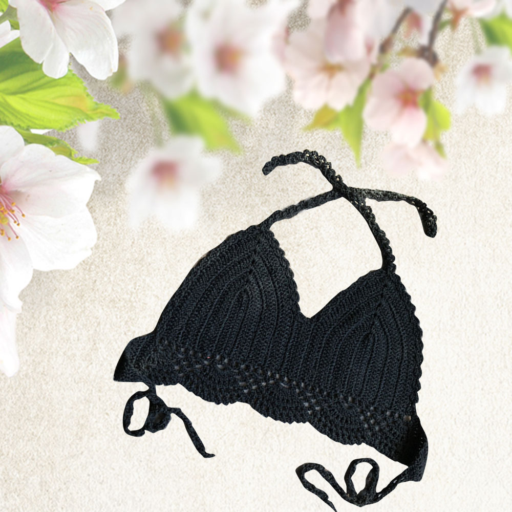 Black Bathing Suits Knitted Bikini Crochet Crop Top Sexy High Waist hollow Out Swimwears jacket for Beach Seas in Bikinis Set from Sports Entertainment