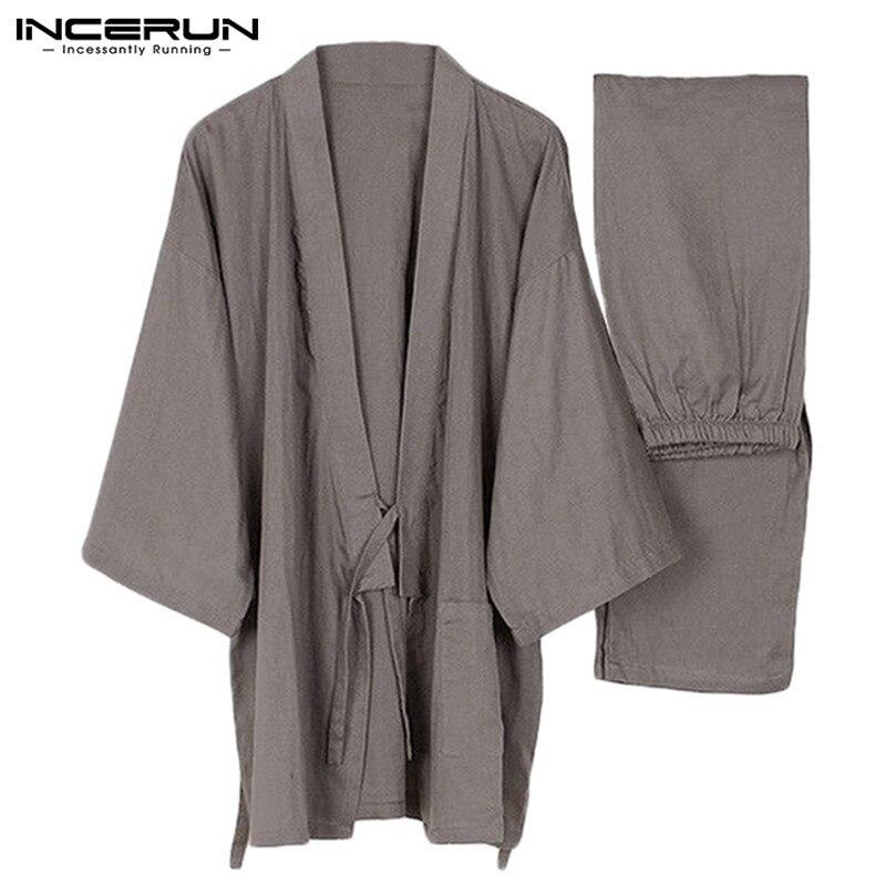 Men Pajamas Nightwear-Suits Homewear Japanese-Style Pants-Sets Kimono Cotton Plus-Size