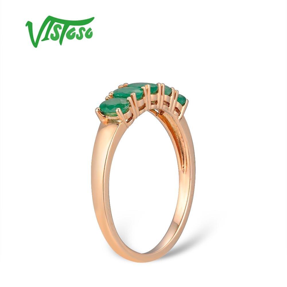 VISTOSO Gold Ringe Für Frauen Echte 14K 585 Rose Gold Ring Magie Smaragd Engagement Jahrestag Runde Ringe Trendy Feine schmuck-in Ringe aus Schmuck und Accessoires bei  Gruppe 3