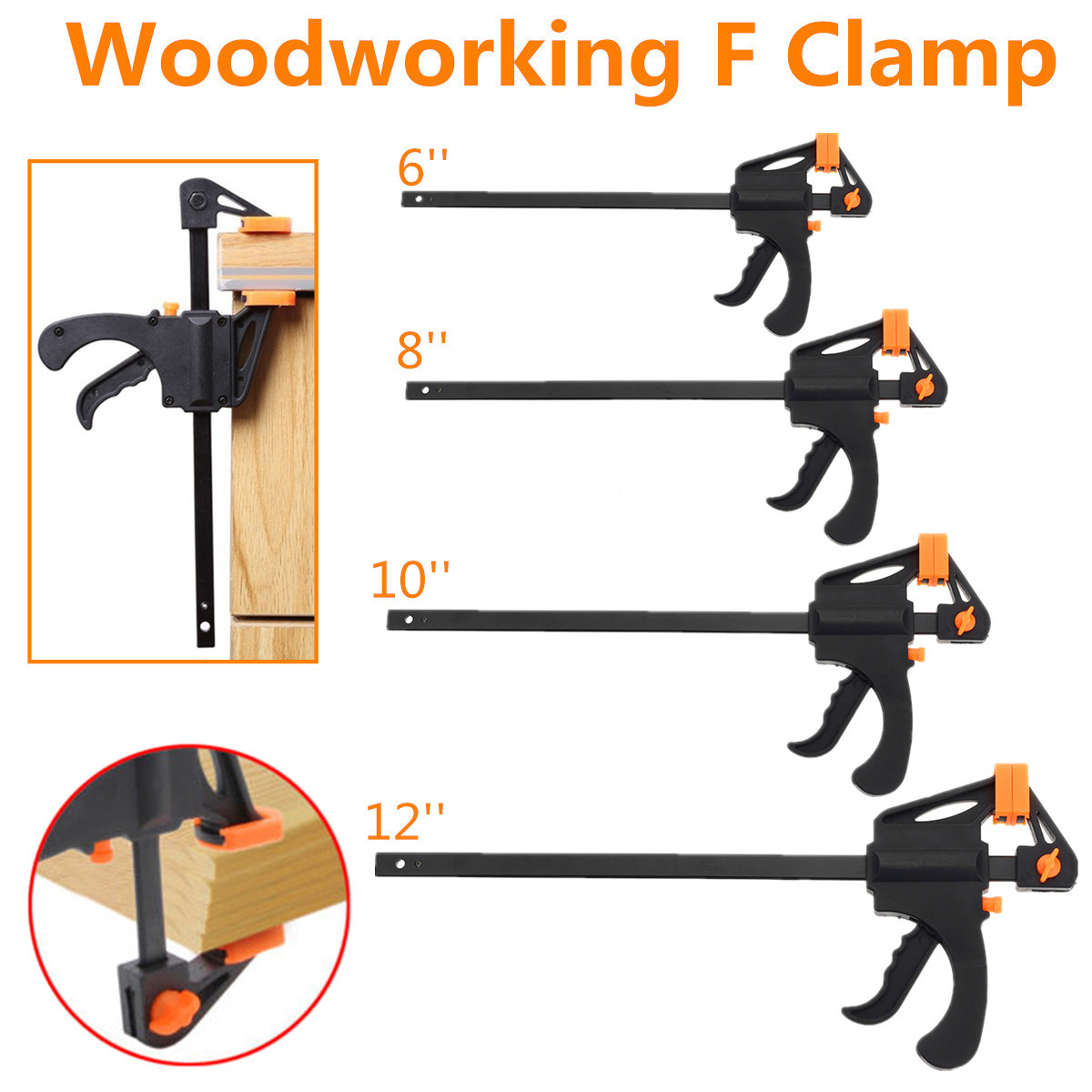 Wood Working Bar F Clamp 6/8/10/12 Inch Grip Ratchet Release Squeeze Hand Tool More-nimble Version Hardened Steel Bar no RustWood Working Bar F Clamp 6/8/10/12 Inch Grip Ratchet Release Squeeze Hand Tool More-nimble Version Hardened Steel Bar no Rust