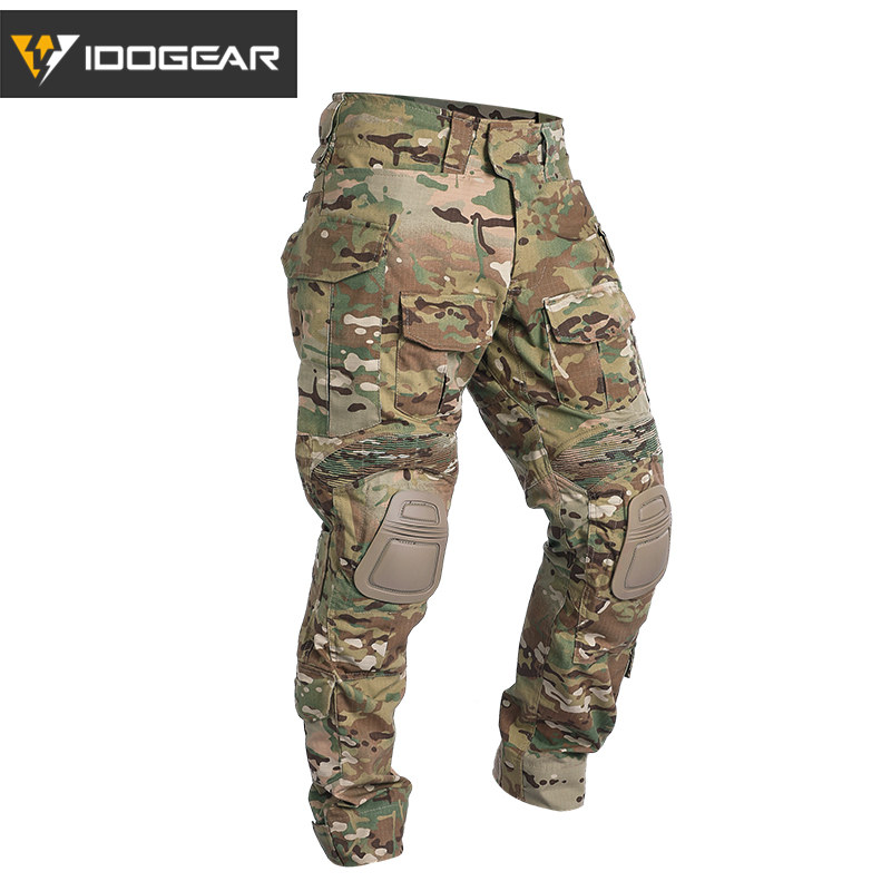 IDOGEAR G3 Combat Pants with Knee Pads Airsoft Tactical Trousers MultiCam CP gen3 Hunting Camouflage-in Hunting Pants from Sports & Entertainment    1