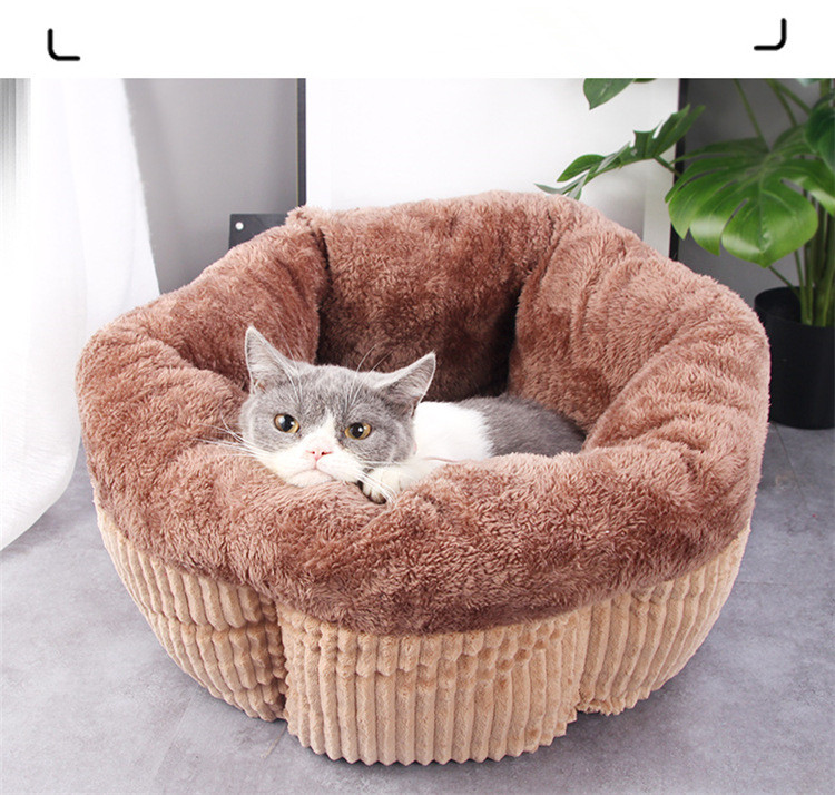 Cat Soft Bed Warm House Cave Nest For Cat Sleeping Cute Flower Shaped Washable Sleeping Bag Kennels Cushion For Kitten Puppies