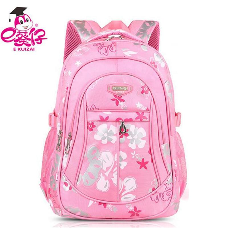 Hot Ekuizai 1-6 Grade Primary School Bags Light Kids Backpacks School Bags For Girls High Quality Children Students Backpacks