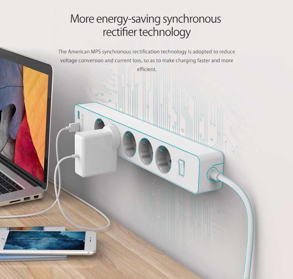 Orico 3/5 Ac + 2 Usb Power Strip Met Usb Elektronische Socket Home Office Overspanningsbeveiliging Eu Plug Hargers Extension smart Socket