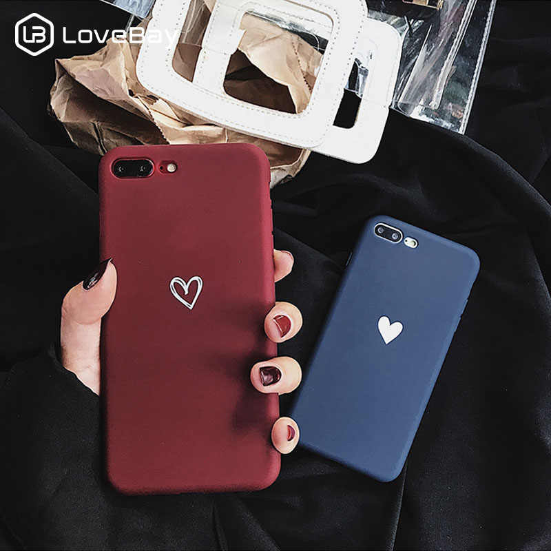 Lovebay Love Heart Pattern Phone Cases Cover For Iphone 6 6S 7 8 Plus XS Max XR X Soft TPU Silicone Ultra-thin Simple Back Cover