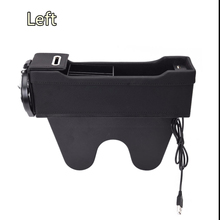 Left Side Car Organizer Seat Crevice Storage Bag Auto Phone Holder Dual USB Microfiber Leather
