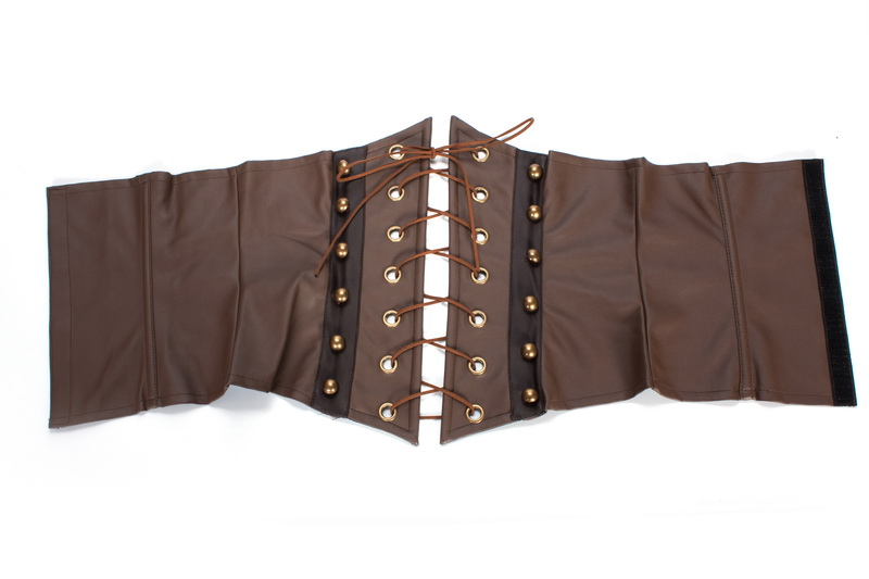 Image 4 - Women Brown Faux Leather Gothic Steampunk Corsets and Bustiers Lace Up Boned Underbust Waist CincherBustiers & Corsets   -
