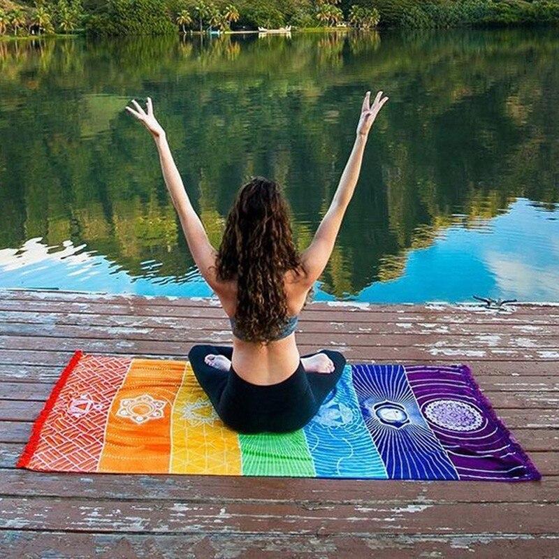 Rainbow Yoga Beach Mat Bath Towel  1