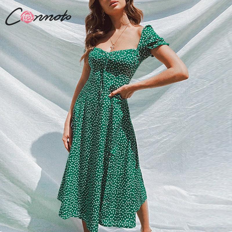 Conmoto Summer Vintage Party Dress Square Collar Ruffle Elegant Sexy Dress Beach Female Green Floral Print Mid Dresses Vestidos