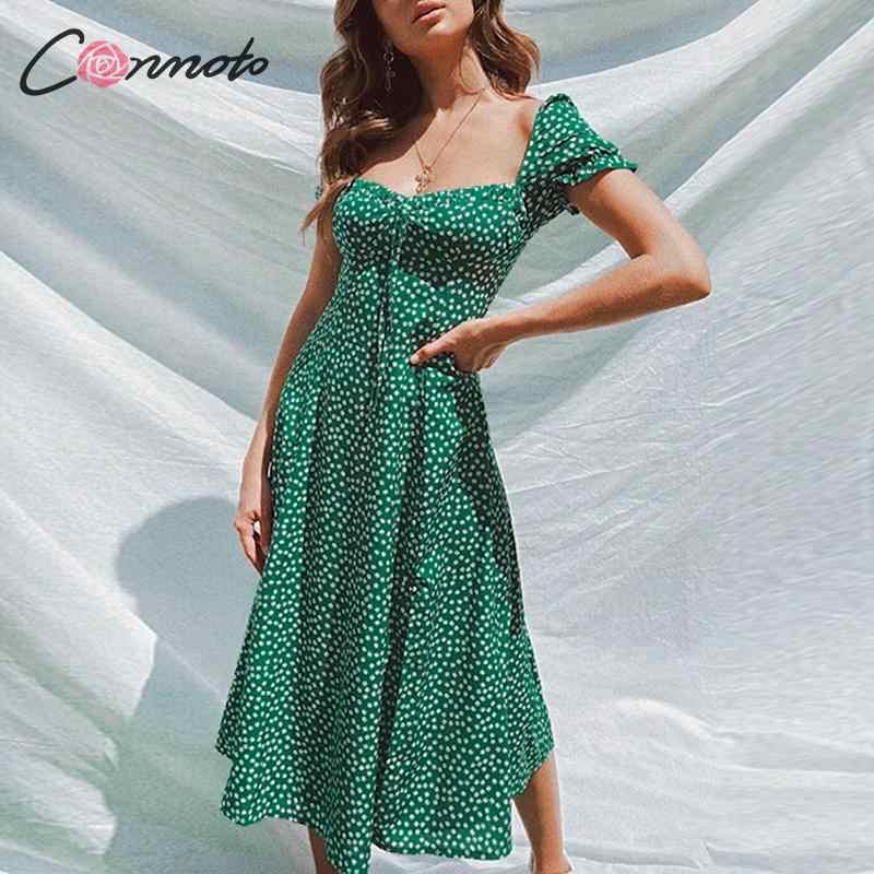 Conmoto verão vestido de festa do vintage gola quadrada plissado elegante sexy vestido praia feminino verde floral impressão meados vestidos