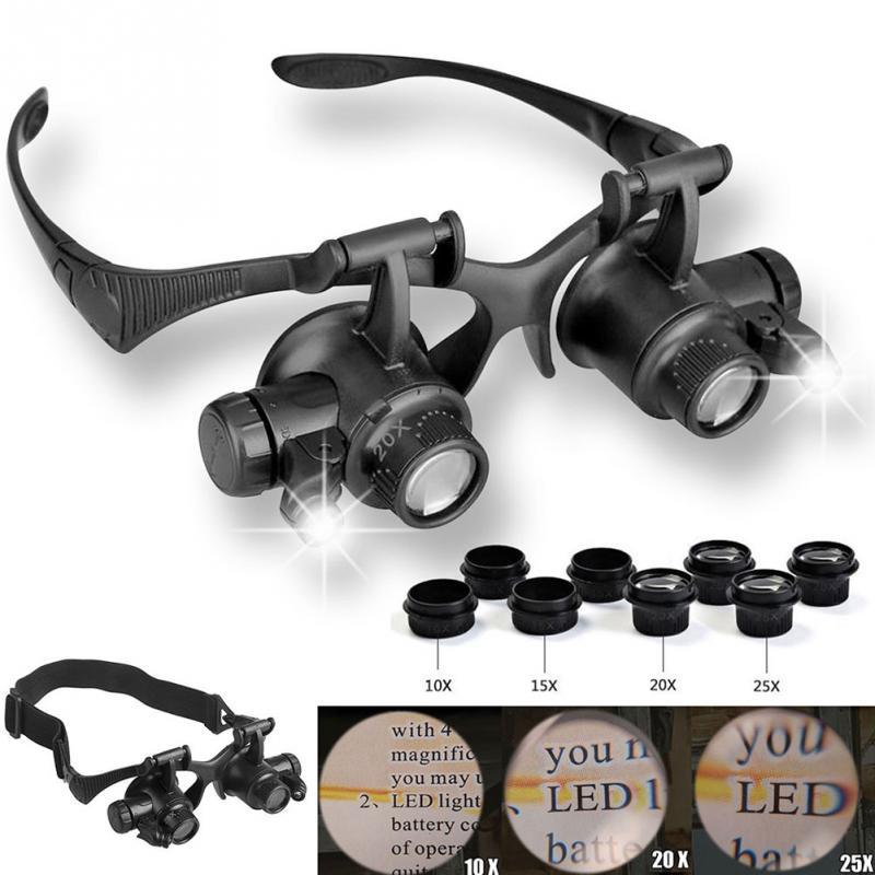 Relógios/Reparo Eletrônico Jóias Appraisal Lupa LED Duplo Eye Jeweler de Reparação do Relógio Lupa Lupa Óculos 10X 15X 20X 25X Lente ~
