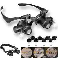 Uhren/Elektronische Reparatur Schmuck Einschätzung LED Lupe Doppel Auge Lupe Brille Juwelier Uhr Reparatur 10X 15X 20X 25X Objektiv ~