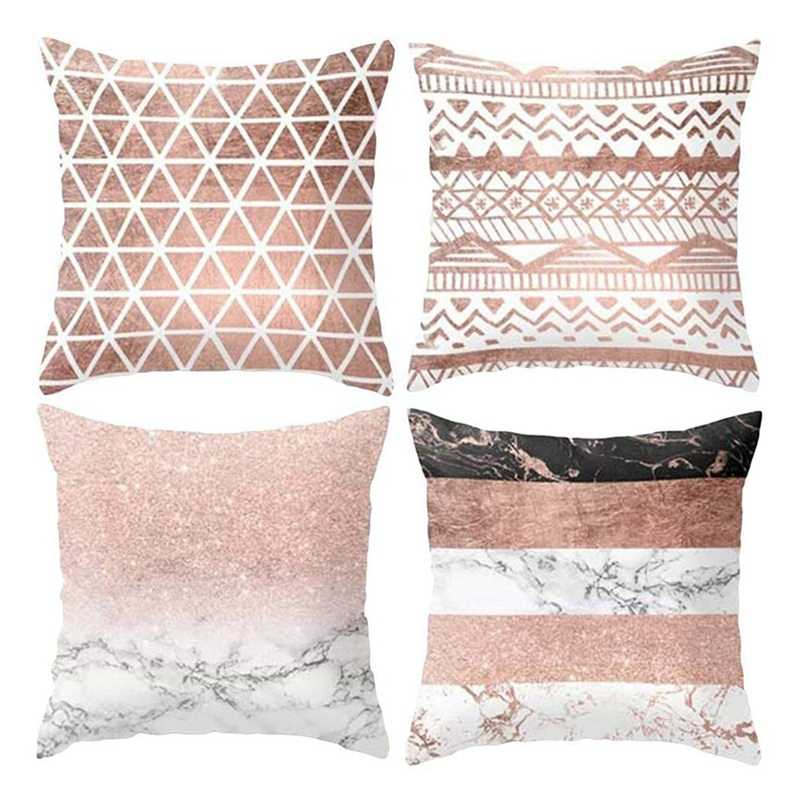 Best Geometric Cushion Covers Soft Plush Throw Pillow Covers 45Cm X 45Cm Set Of 4Pcs Pink
