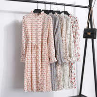2019 spring and summer new women's floral dress casual pleated long-sleeved dress with belt trumpet sleeve chiffon A-line dress