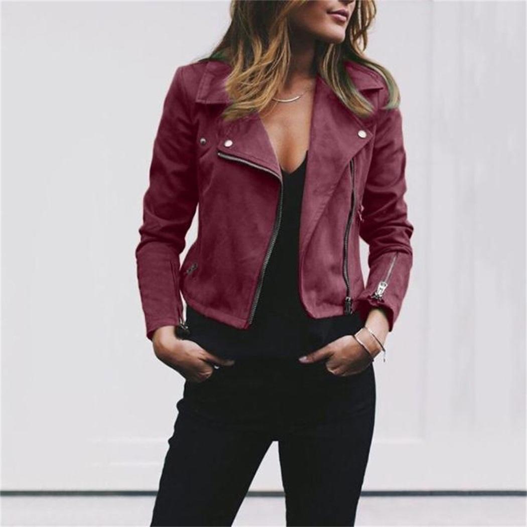 Women Casual Turn-  Down   Collar Long Sleeve Solid Winter Zipper Closure Short   Coat
