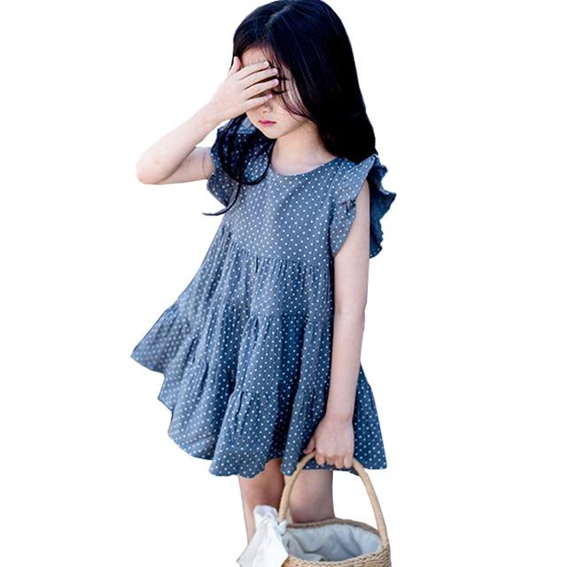 f8d17bc88787 Big Girls Summer Dress 2019 new children Sleeveless Dot dresses Kids  princess Party Frocks cotton dress