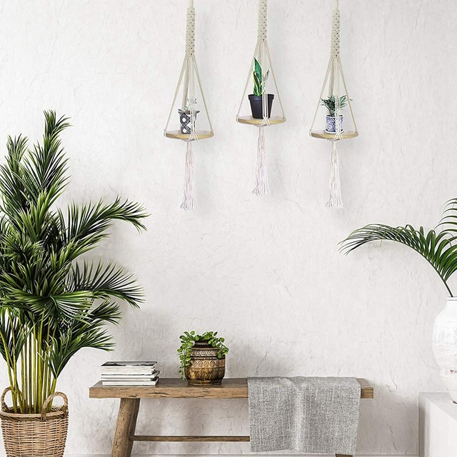 Boho Macrame Plant Hanger with Tray