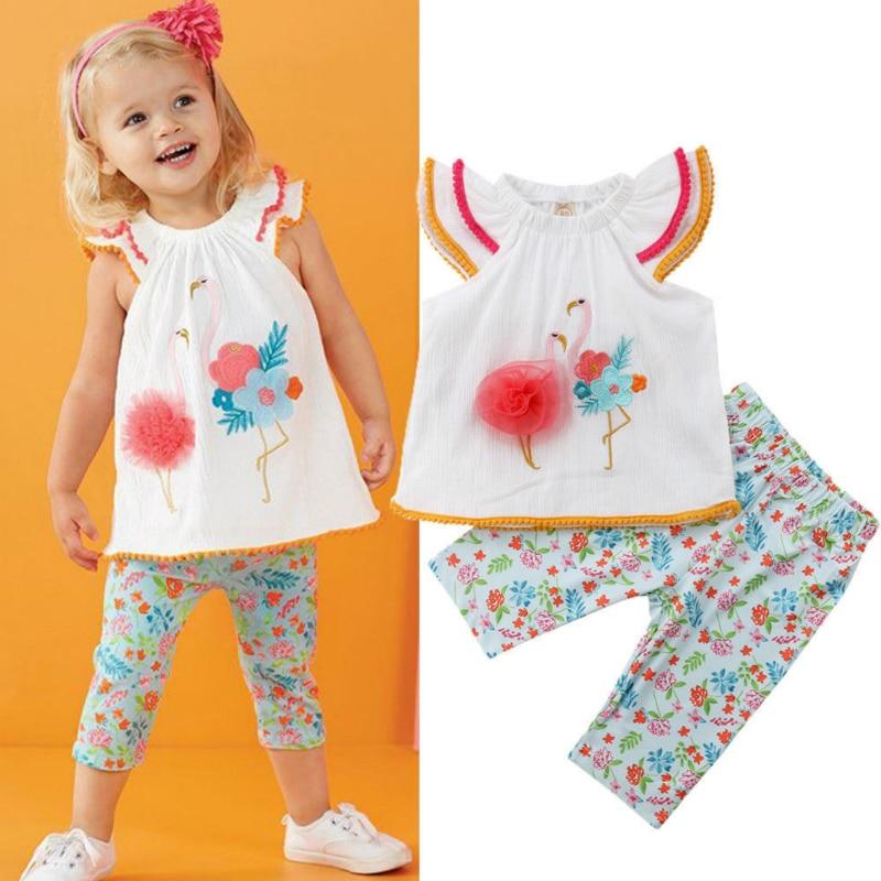 2 Pcs Sommer Mädchen Kleidung Kinder Baby 3d Blume Flamingo Tops Weste + Blumen Drucken Hosen Kleinkind Mädchen Kleidung Girlymax Kleidung Sparen Sie 50-70%