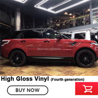 cast fourth generation Glossy Red Vinyl Car Wrap Film Sticker Decal Air Bubble Free Film PVC Wholesale Warranty 5 years quality
