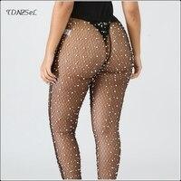Women Sexy Mesh Diamonds Fishnet Sheer Pants Elastic High Waist Sex Skinny See Through Pencil Pants Ladies Nightclub Wet Look