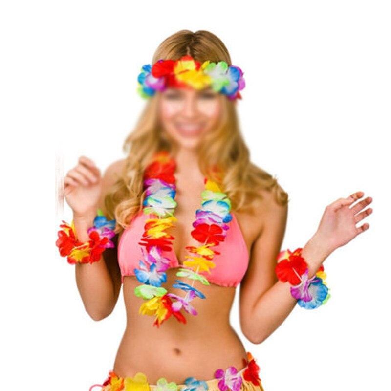 4 Pcs Lei Flower Garlands Necklace Hawaiian Tropical Beach Party Fancy Dress Hot