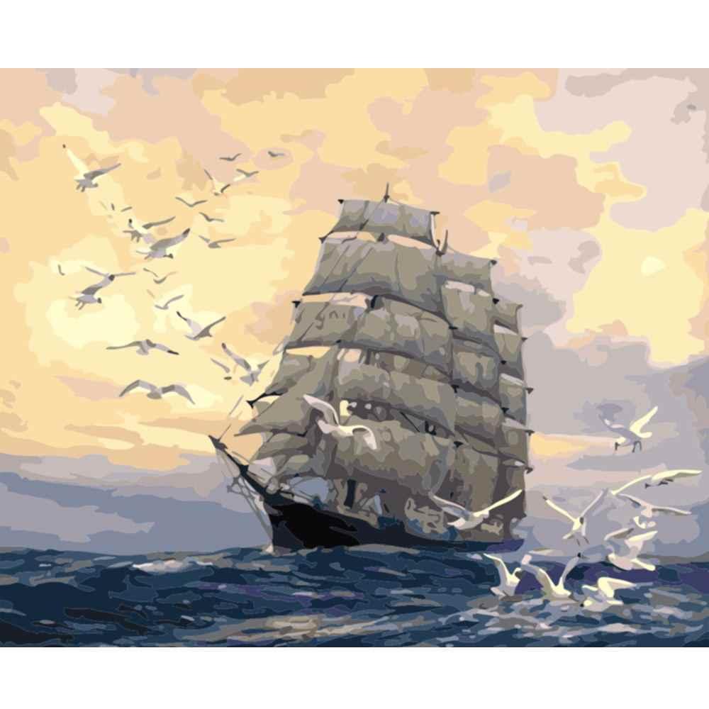 DIY PBN שיט סירת Arcylic ציור על בד ממוסגר קיר תמונות אמנות לסלון חדר עיצוב הבית