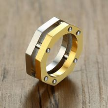 Cool Men Gold and Silver Tone Octagon Nut Bolt Ring Rock Punk Stainless Steel Wedding Band Male Accessory(China)